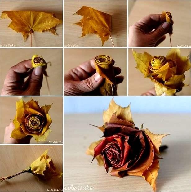 Výsledek obrázku pro růže z listí