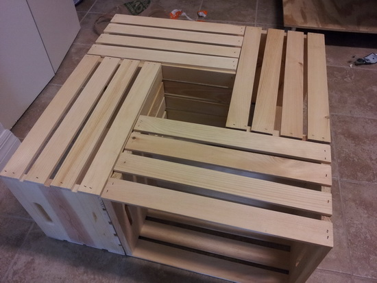 DIY Wine Crate Coffee Table