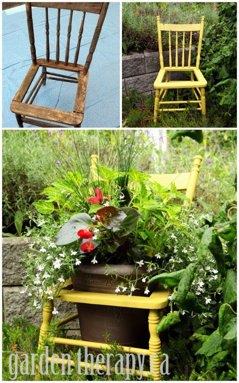 Recycled-Chair-Planter-Project-Before-and-After-via-garden-therapy