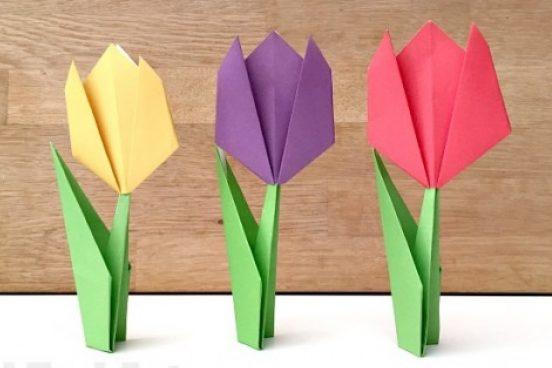 Jednoduché origami tulipány z papíru – videonávod