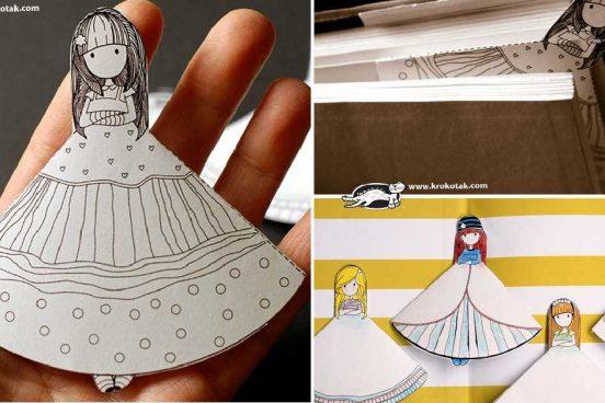 Tvoření s dětmi – 3D papírové záložky pro holčičky + šablona